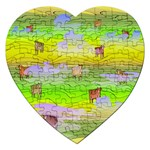 Cows and Clouds in the Green Fields Jigsaw Puzzle (Heart)