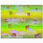 Cows and Clouds in the Green Fields Mini Button Earrings