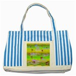 Cows and Clouds in the Green Fields Striped Blue Tote Bag
