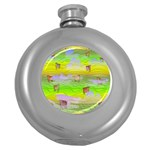 Cows and Clouds in the Green Fields Round Hip Flask (5 oz)