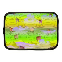 Cows And Clouds In The Green Fields Netbook Case (medium)  by CosmicEsoteric