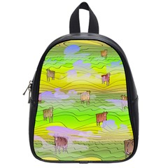 Cows And Clouds In The Green Fields School Bag (small) by CosmicEsoteric