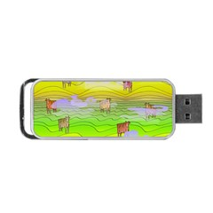 Cows And Clouds In The Green Fields Portable Usb Flash (one Side) by CosmicEsoteric