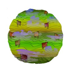Cows And Clouds In The Green Fields Standard 15  Premium Round Cushions by CosmicEsoteric