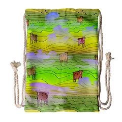 Cows And Clouds In The Green Fields Drawstring Bag (large) by CosmicEsoteric