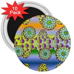 Amoeba Flowers 3  Magnets (10 pack)