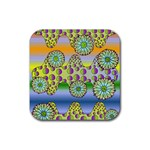 Amoeba Flowers Rubber Square Coaster (4 pack)