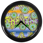 Amoeba Flowers Wall Clocks (Black)