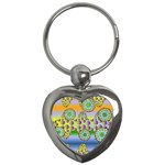 Amoeba Flowers Key Chains (Heart)