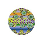 Amoeba Flowers Rubber Round Coaster (4 pack)