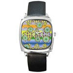 Amoeba Flowers Square Metal Watch