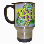 Amoeba Flowers Travel Mugs (White)