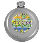 Amoeba Flowers Round Hip Flask (5 oz)