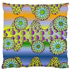 Amoeba Flowers Large Cushion Case (two Sides) by CosmicEsoteric