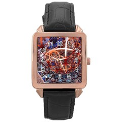 Complexity Chaos Structure Rose Gold Leather Watch  by Onesevenart