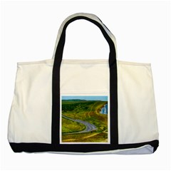 Cliff Coast Road Landscape Travel Two Tone Tote Bag by Onesevenart