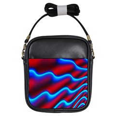 Wave Pattern Background Curve Girls Sling Bags by Celenk