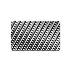 White Line Wave Black Pattern Magnet (name Card) by Celenk
