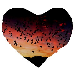 Sunset Dusk Silhouette Sky Birds Large 19  Premium Flano Heart Shape Cushions by Celenk