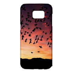 Sunset Dusk Silhouette Sky Birds Samsung Galaxy S7 Edge Hardshell Case
