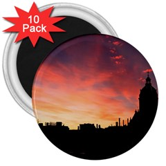 Sunset Silhouette Sun Sky Evening 3  Magnets (10 Pack)  by Celenk