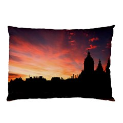 Sunset Silhouette Sun Sky Evening Pillow Case (two Sides) by Celenk