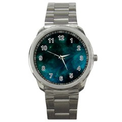Green Space All Universe Cosmos Galaxy Sport Metal Watch by Celenk