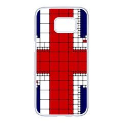 Union Jack Flag Uk Patriotic Samsung Galaxy S7 Edge White Seamless Case by Celenk