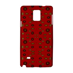 Brown Circle Pattern On Red Samsung Galaxy Note 4 Hardshell Case by BrightVibesDesign