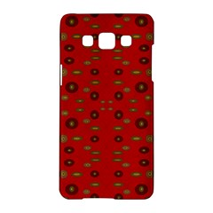 Brown Circle Pattern On Red Samsung Galaxy A5 Hardshell Case  by BrightVibesDesign