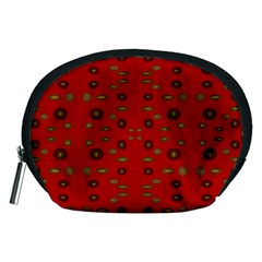 Brown Circle Pattern On Red Accessory Pouches (medium)  by BrightVibesDesign