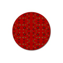 Brown Circle Pattern On Red Magnet 3  (round) by BrightVibesDesign
