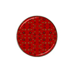 Brown Circle Pattern On Red Hat Clip Ball Marker by BrightVibesDesign