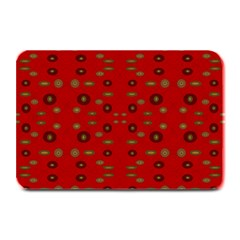 Brown Circle Pattern On Red Plate Mats by BrightVibesDesign