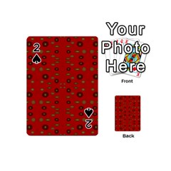 Brown Circle Pattern On Red Playing Cards 54 (mini)  by BrightVibesDesign