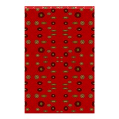 Brown Circle Pattern On Red Shower Curtain 48  X 72  (small)  by BrightVibesDesign