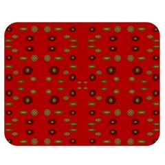 Brown Circle Pattern On Red Double Sided Flano Blanket (medium)  by BrightVibesDesign