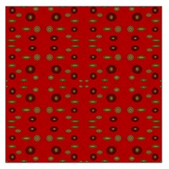 Brown Circle Pattern On Red Large Satin Scarf (square) by BrightVibesDesign
