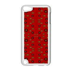 Brown Circle Pattern On Red Apple Ipod Touch 5 Case (white) by BrightVibesDesign