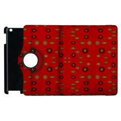 Brown Circle Pattern On Red Apple Ipad 2 Flip 360 Case by BrightVibesDesign