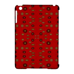 Brown Circle Pattern On Red Apple Ipad Mini Hardshell Case (compatible With Smart Cover) by BrightVibesDesign