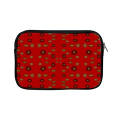 Brown Circle Pattern On Red Apple Ipad Mini Zipper Cases by BrightVibesDesign