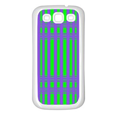 Bright Green Purple Stripes Pattern Samsung Galaxy S3 Back Case (white) by BrightVibesDesign