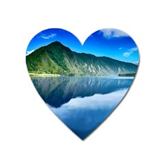 Mountain Water Landscape Nature Heart Magnet by Celenk