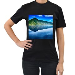 Mountain Water Landscape Nature Women s T Shirt (black) by Celenk