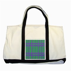 Bright Green Purple Stripes Pattern Two Tone Tote Bag by BrightVibesDesign