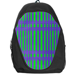 Bright Green Purple Stripes Pattern Backpack Bag by BrightVibesDesign