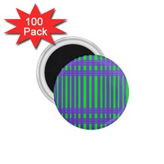 Bright Green Purple Stripes Pattern 1 75  Magnets (100 Pack)