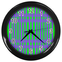 Bright Green Purple Stripes Pattern Wall Clocks (black) by BrightVibesDesign