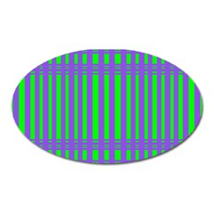 Bright Green Purple Stripes Pattern Oval Magnet by BrightVibesDesign